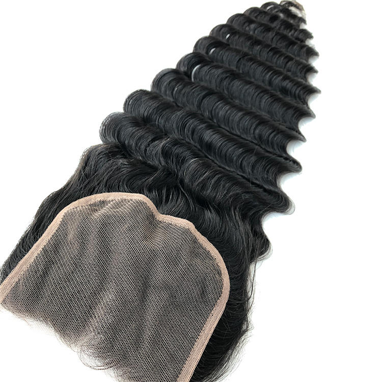 10A Grade Human Hair Deep Wave Lace Closure For Women