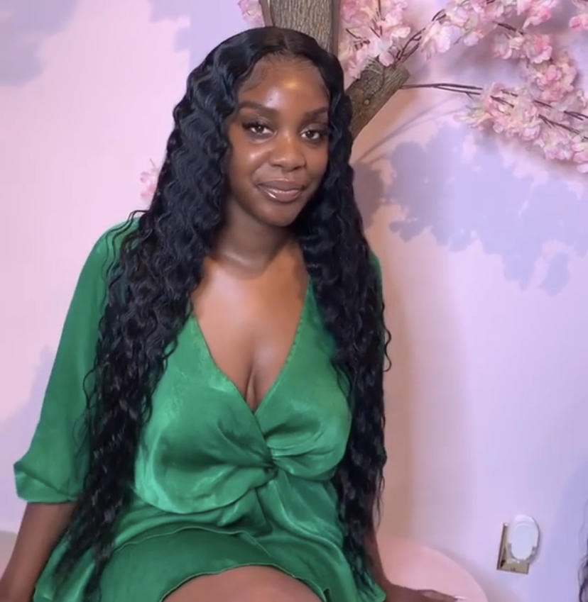 Premade Deep Wave Lace Frontal Wig 30inch