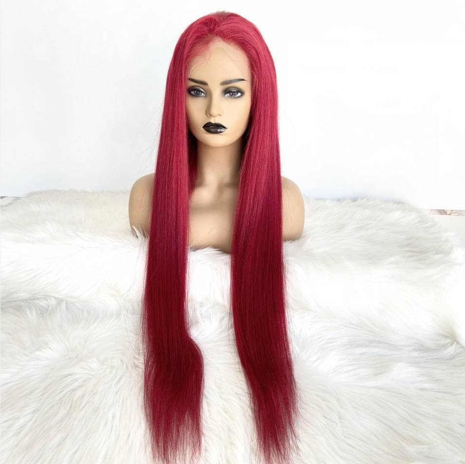 Colorless Transparent Lace Full Lace Red Wig